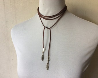 Wrap Choker Necklace or Wrap Bracelet: feather charms in faux suede cord