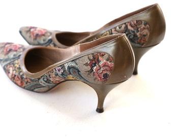 Tapestry Heels Floral Pumps floral heels Original Higgins 7.5