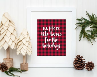 No Place Like Home For The Holidays, Christmas Decor, Holiday Decor, Buffalo Check Decor, Cozy Decor, Holiday Wall Art, INSTANT DOWNLOAD