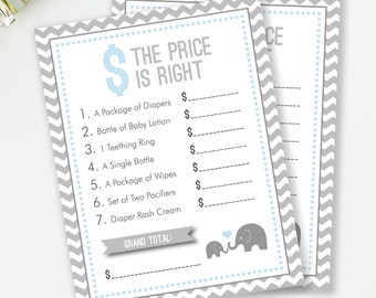 The Price Is Right, Baby Shower Game, Elephant Baby Shower, Boy Baby Shower, Blue and Gray Elephant Shower, INSTANT DOWNLOAD, #E1