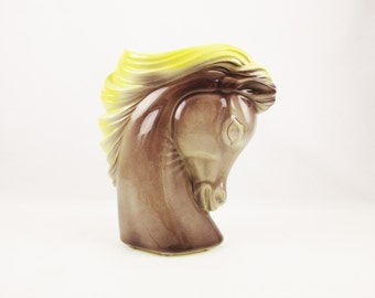 Horse Vase - Light Yellow and Mocha Tan- Vase With Flowing Mane and Arched Neck - Possibly a 'Royal Copley' - Great Air-brushed Horse Vase