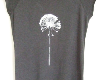 Allium Womens bamboo organic T shirt charcoal grey silver hand printed