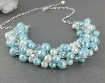 Light Blue and Ivory Necklace, Aqua Necklace, Bridesmaids Gift, Bridesmaids Necklace, Blue and White Necklace, Pearl Beaded Necklace