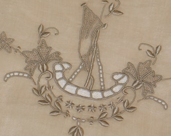 Vtg Marghab Placemats~12 Piece Set~RENAISSANCE BOAT-Ivory Margandie Linen-UNUSED