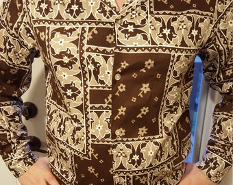 Chocolate Brown Printed 60's Shirt