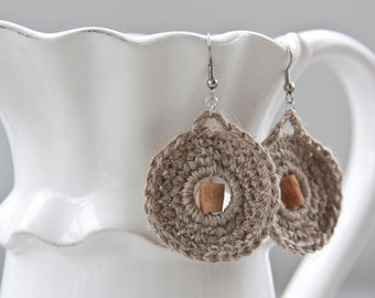Crocheted Earrings | natural linen and wood beads
