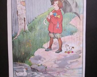"Vintage ""Rain, Rain, Go Away"" Mother Goose Print"