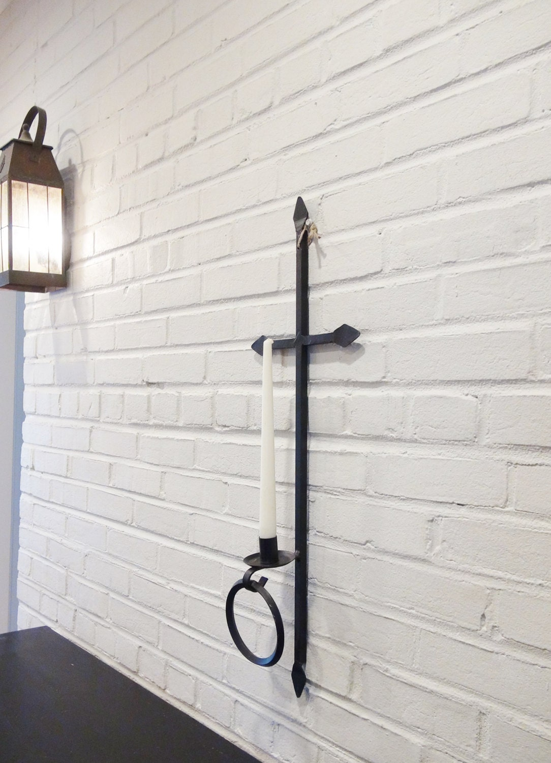 Large Iron Candle Sconce / 28 1/2 Long Wall Sconce
