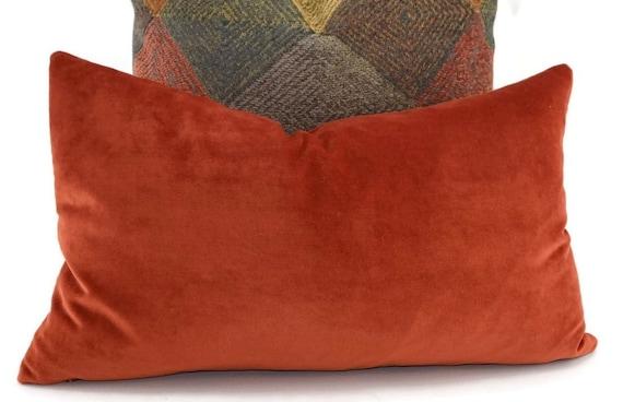 Orange Velvet Lumbar Throw Pillow Cover 12x20 Orange Velvet