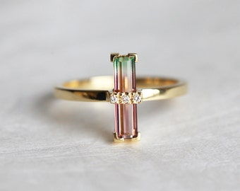 Watermelon Tourmaline Ring, Bi Color Tourmaline Ring, Unique Engagement Ring, Baguette Engagement Ring, Gold Tourmaline Ring