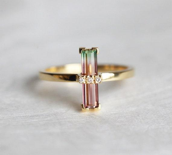 Watermelon Tourmaline Ring Bi Color Tourmaline Ring Unique