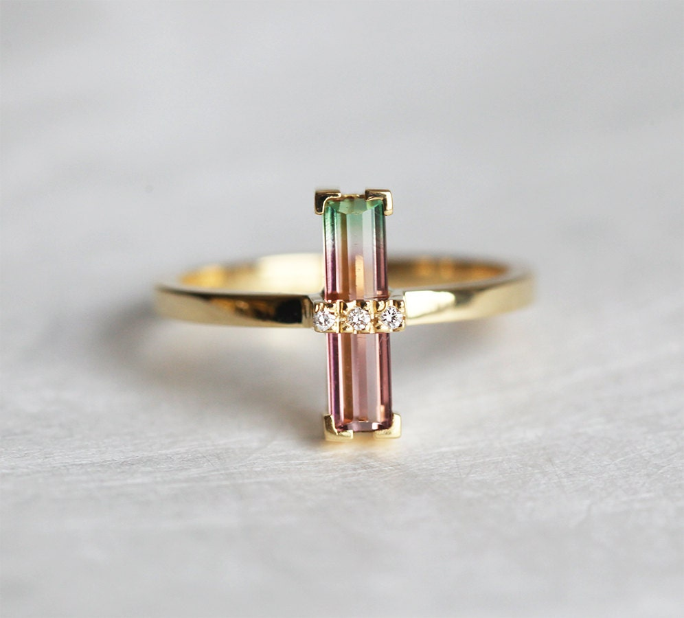 Watermelon Tourmaline Ring Bi Color Tourmaline Ring Unique