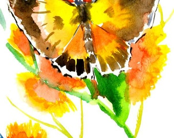Butterfly, original one of a kind small watercolor painting gift, butterfly lover art, yellow orange green olive green art 7X5 in