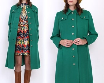 60's Green Wool Military Mod Vintage Mini Dress Pea Coat Jacket M/L