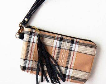Plaid leather wristlet or clutch in classic tan and black.