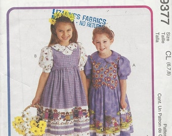 Uncut Sewing Pattern - McCalls 9377 - Children's Girl's -  DRESS, PINAFORE & VEST Pattern - by Jelly Bean Junction - c. 1998 - Sizes 6, 7, 8