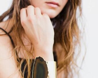 Large dark green agate bracelet - gold agate cuff