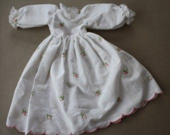 Handmade, Vintage, Lace-Trimmed Doll Dress with Hand-Embroidered Rosebuds and Petticoat