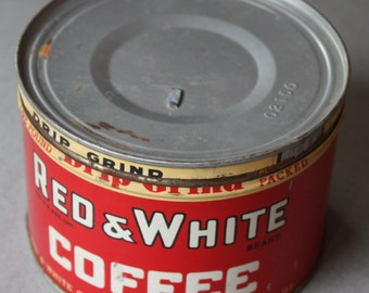 Red and White Brand Coffee Can