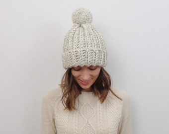 Chunky Knit Pom-Pom Hat Wool Knit Toque   THE YUKON