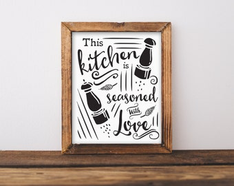 Kitchen printable wall art, This Kitchen is Seasoned with Love print,  Kitchen decor, PDF, Instant Download, DIY kitchen print, Home decor