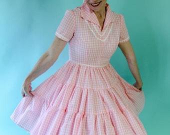 Vintage 1950's Pink & White Cotton Gingham Rockabilly Patio Dress