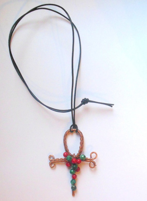 ankh pendant necklace copper wire wrapped with coral and