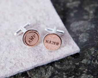 Personalised Monogram And Date Cufflinks - Vintage look Cufflinks - Gift for Groomsmen - Personalised Cufflink Set - Wooden Cufflinks