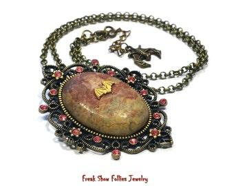 unakite gemstone bat cameo necklace