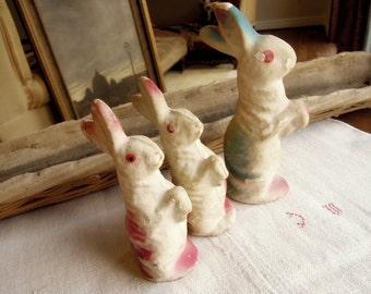 Set of Three Vintage / Antique Papier-Mache German Rabbits / Bunnies / Papier Mâché  Candy Holder / Bunny Trio / Easter Bunny  Hand Painted