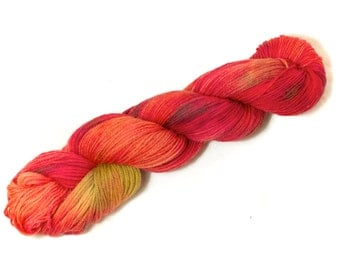 Tropical Sunset – Hand Dyed, Pure Kent Romney Wool Yarn – Red, Orange, Yellow DK Weight hand dyed yarn for knitting, crochet, weaving (100g)