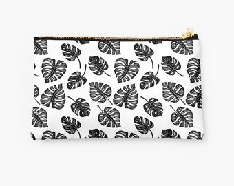 Black and White Leaf Print Pouch - choice of size, silhouette leaf print pouch with philodendron leaves