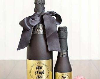 Bachellorette Party Champagne Labels \\ Pop Clink Fizz \\ Mini or Regular Size