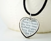 Anne of Green Gables - Silver Heart Necklace - Literary Necklace - Anne of Green Gables Jewelry