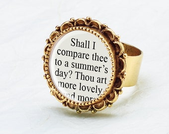 Shakespeare Quote Ring - William Shakespeare Sonnet 18 - Literature Jewelry - Shakespeare Jewelry - Poetry Jewelry - Shakespeare Love Poem
