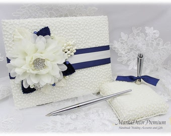 Wedding Lace Guest Book Pen Holder Set Jeweled Birthday Book Bridal Flower Brooch Guest Books Custom Signature Book in Ivory, Navy Blue