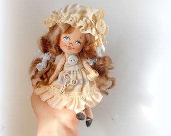 Cloth Doll, Needlewoman,art doll,handmade,collectible art doll