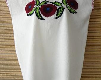 Flowers Fashionable Mexican Folk Hippie Boho Huipil Tunic Blouse M/L