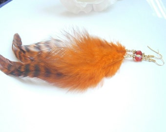 Long Feather Earring - Orange Dangle Earrings - Grizzly Feathers -  Boho Chic Jewelry - Jewellery With Feathers - Bohemian Style Jewel