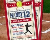 DIGITAL Personalized Softball Birthday Invitation