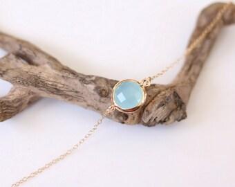 Mint Blue Chalcedony Bracelet - Charm Bracelet - Gemstone Bracelet - Gold Bracelet - Bright - Arm Candy - Blue quartz - Stacking Bracelet