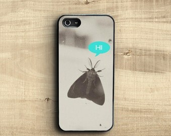 Black and white photo iPhone 5 case moth, fun kitsh talking bug iPhone 5 case, iPhone 5s case moth says Hi, iPhone 6 Plus case photography