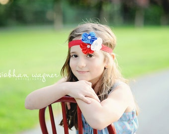 4th of July Headband - Independence Day Headband - Red White and Blue Flower Headband - Patriotic Headband - Baby Headband - Adult Headband