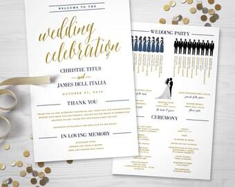 Wedding Program – Bridal Party Silhouettes (Digital File)