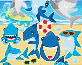 Shark clipart, Sharks commercial use, Shark vector graphics, shark party digital clip art, CL945