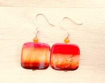 Striped Seashell Earrings - Red, Orange and Brown Ombre Earrings - Seashell Jewelry
