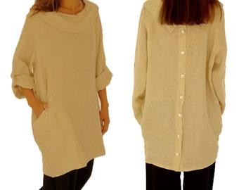 HI800BG tunic blouse linen layered look vintage size 40 42 44 46 48 beige