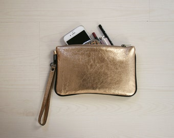 Gold Wristlet. Metallic Clutch Bag. Leather Wristlet Bag. Leather Metallic Clutch. Evening Wristlet Pouch. Wedding Pouch. Free Shipping.