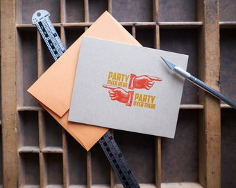 Birthday Card Party Over Here Party Over There Letterpressed in Orange and Red Orange on Kraft with Orange Envelope Printed in Cleveland