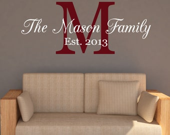 Wall Decals - Family Name Decal - Family Monogram Wall Decal - Decals - Vinyl Decal - Wall Decor - Decals -Monongrams - Decal